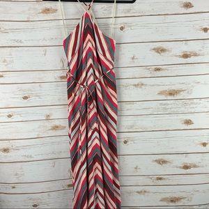 Loft XXSP dress spaghetti strap lined striped maxi